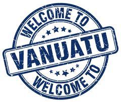 Welcome to Vanuatu blue round vintage stamp Stock Illustration