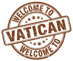 welcome to Vatican brown round vintage stamp - stock illustration