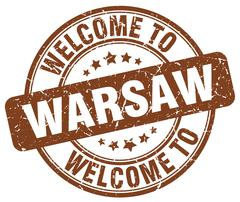 welcome to Warsaw brown round vintage stamp - stock illustration