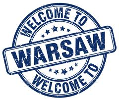 welcome to Warsaw blue round vintage stamp - stock illustration
