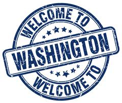 welcome to Washington blue round vintage stamp - stock illustration