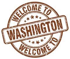 welcome to Washington brown round vintage stamp - stock illustration