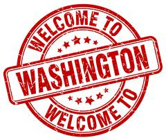 welcome to Washington red round vintage stamp - stock illustration