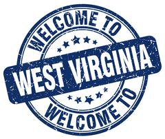 Welcome to West Virginia blue round vintage stamp Stock Illustration