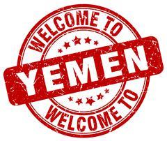 welcome to Yemen red round vintage stamp - stock illustration