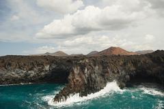 Coastline of Los Hervideros, Lanzarote - stock photo