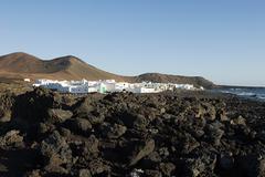 El Golfo and black lava field, Lanzarote - stock photo