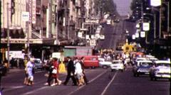 Melbourne Australia City Street People Cross 1970s Vintage Film Home Movie 9373 Stock Footage
