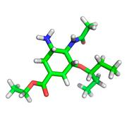 Anti-flu medication molecule - stock illustration