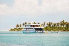 Scuba diving liveaboard boat, North Huvadhu Atoll, Maldives Stock Photos
