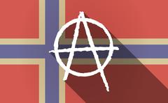 Long shadow Norway flag with an anarchy sign - stock illustration