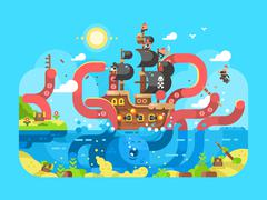 Kraken ship sinks design flat Stock Illustration