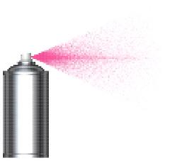 bubble spray can spraying pink bubbles over white - stock illustration