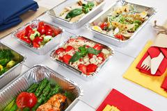 Healthy food take away in boxes, eating right Stock Photos