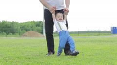 Boy and dad walking on green grass, holding hands - stock footage
