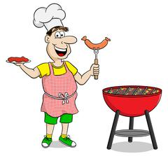 Man with apron grilling steak and sausages Stock Illustration