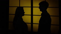 People and domestic violence. Silhouette. Close up Arkistovideo