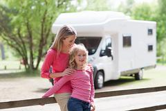Mother and daughter on caravan holiday - stock photo