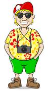 Tourist with camera, shirt and short pants Stock Illustration