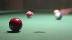 Detail shot of pool billiard balls colliding - shot 27 - CC - stock footage