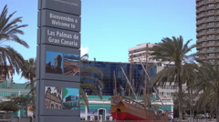 Welcome to Las Palmas de Gran Canaria sign, Canary Isles Stock Footage