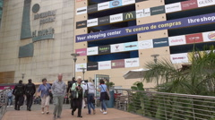 Las Palmas de Gran Canaria, tourists visit shopping center, Canary Isles Stock Footage