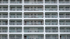 Close up of cabins at stern of cruise ship Stock Footage
