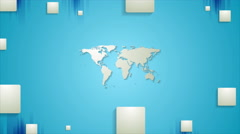 Blue tech video animation with map and squares - stock footage
