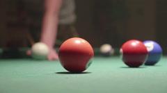 Detail shot of pool billiard balls colliding - shot 16 - CC - stock footage