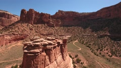 An aerial shot of redrock buttes and cliffs in Utah - stock footage
