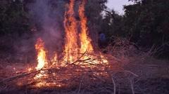 Slow motion shot of bonfire - stock footage