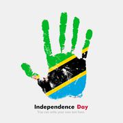 Handprint with the Flag of Tanzania in grunge style Stock Illustration