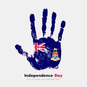 Handprint with the Flag of Cayman Islands in grunge style - stock illustration