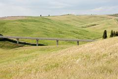 Bridge and rolling landscape, Val d'Orcia, Italy - stock photo