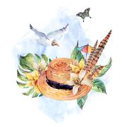 Summer watercolor straw hat, sea gull, tropical leaves, flowers - stock illustration