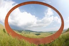 Oval in field near Volterra, Tuscany, Italy Stock Photos