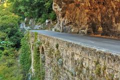 Road in gorge in the Alpes-Maritimes - stock photo