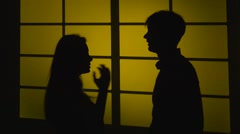 Showdown with the threat to hit. Silhouette. Slow motion. Close up Stock Footage