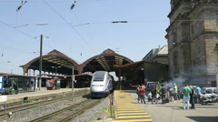 Workers protesting at French train station Stock Footage