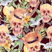Summer watercolor skull Day of The Dead seamless sattern Stock Illustration