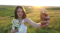 Slow motion Beautiful caucasian woman Make Selfie Bouquet of daisies - stock footage