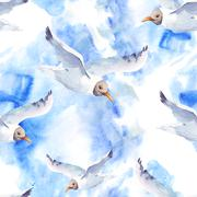 Summer watercolor seamless pattern with sea gull - stock illustration