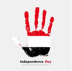 Handprint with the Flag of Yemen in grunge style Stock Illustration