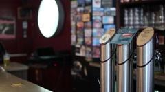 Craft Beer Taps At Bar Stock Footage