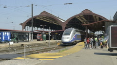 Panning to Protest at French train station Stock Footage