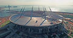 Construction of sports arena Stock Footage