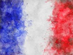 Blue, White and Red Painterly Flag of France Stock Illustration
