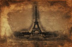 Artistic Rendering of Eiffel Tower on Aged Paper - stock illustration