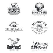 Dino logo set. Dinosaur logotype. Raptor sport mascot design. Vector T-rex label Stock Illustration