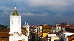 Cuenca, Ecuador. View on old town and mountain behind. 4K time lapse - stock footage